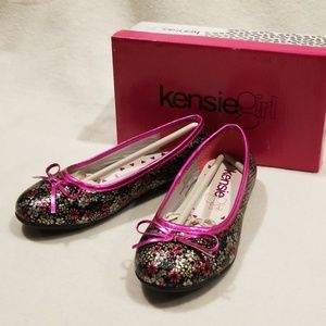 Girls, Kensie Girl flowered and sparkly flats